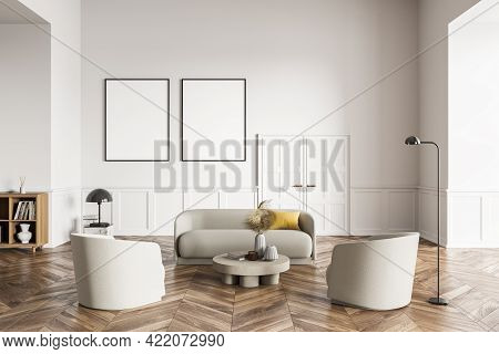 Living Room Design Interior. Modern Stylish Home Area. Two Framed Mock Up Posters On White Wall. Woo
