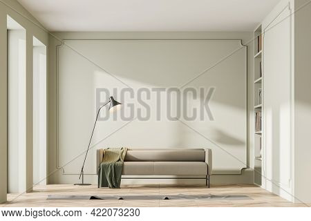Modern Home Interior With Beige Couch Wooden Floor, Panoramic Windows. Empty Mock Up Gray Wall. Copy