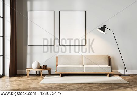 White Living Room Interior With Couch With Coffee Table On Carpet, Parquet Floor, Lamp And Window. M