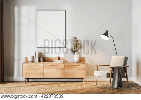 White Living Room Interior With Seat And Commode With Art Decoration, Books. Minimalist Relaxing Roo