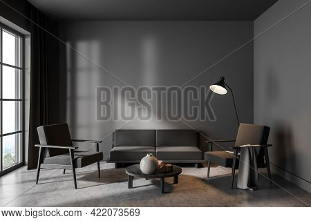 Modern Living Room Interior With Two Chairs And Sofa On Concrete Floor, Lamp And Window. Minimalist