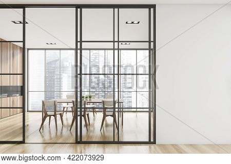 Interior Design Of Modern Meeting Room With Panoramic Windows. Contemporary Conference Board Table.