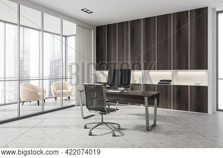 Corner Of Scandinavian Style Ceo Office With White And Wooden Walls, Computer Desk And Bookcase. Pan