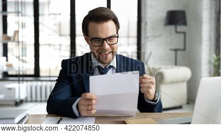 Happy Businessman Learning Good News, Reading Letter, Getting Document