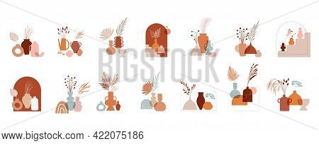 Abstract Bohemian Art Aesthetic Design. Arrangements Of Pottery And Ceramic Pots, Vases With Dry Lea