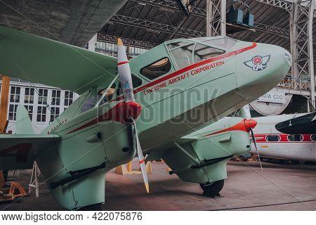 Brussels, Belgium - August 17, 2019: Side View Of Restored De Havilland Dh.89a Dragon Rapide G-aknv