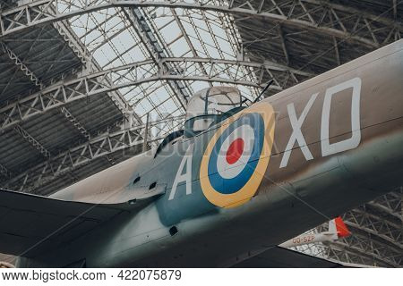 Brussels, Belgium - August 17, 2019: Close Up Of Squadron Code On Bristol 149 Bolingbroke Iv-t Aircr
