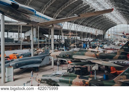Brussels, Belgium - August 17, 2019: Variety Of Military And Civil Aircrafts Inside Aviation Hall Of