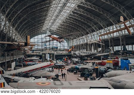 Brussels, Belgium - August 17, 2019: First Floor View Of Military And Civil Aircrafts Inside Aviatio