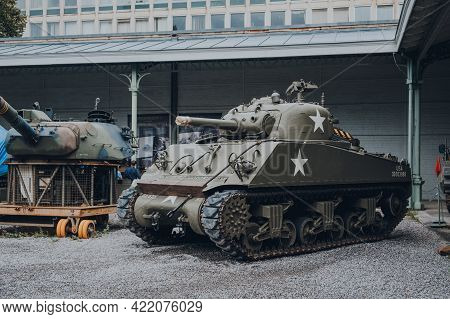 Brussels, Belgium - August 17, 2019: American Sherman Tank On Exhibit At The Royal Museum Of The Arm
