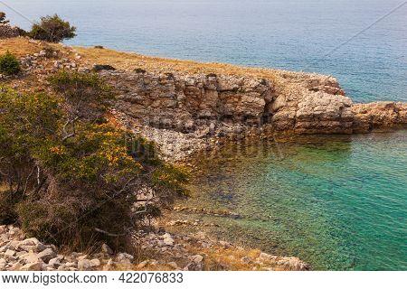 View Of The Stara Baska Beach During The Summer Time, Krk Island. Croatia
