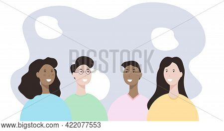 A Group Of Young People Of Different Races. Modern Men And Women. Tolerance To Different Skin Colors