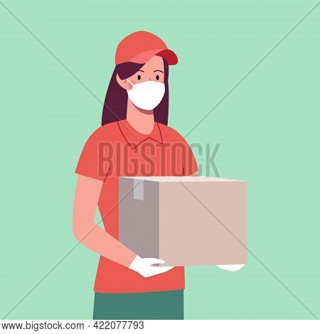 Courier Girl In A Protective Mask And Gloves, Who Brought A Box. Delivery Woman, Safe Delivery..vect