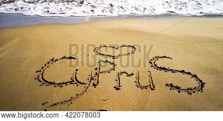 Love Cyprus Lettering At Sandy Beach Seashore