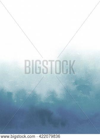 Aquamarine Watercolour Gradient Background. Abstract Watercolour Blue Art. Sea Waves.