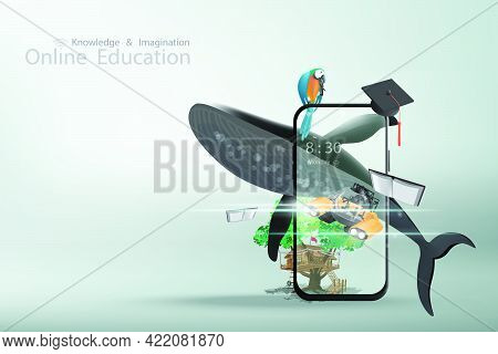 Online Education With A Concept Of Knowledge And Imagination Offers Mobile Phone Books Whale Tree Ho