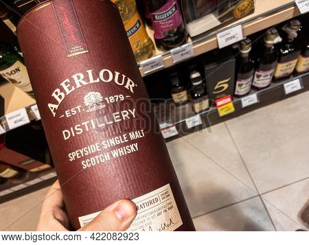 Belgrade, Serbia - May 25, 2020: Selective Blur On Aberlour Logo On Bottles Of Whisky  For Sale. Abe
