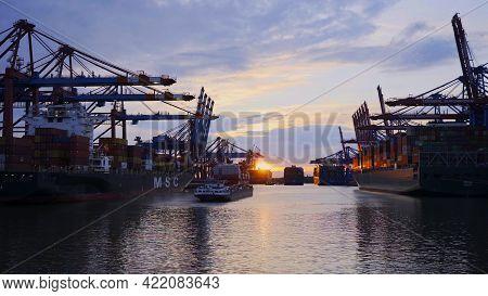 Sunset Over The Port Of Hamburg - Hamburg, Germany - May 10, 2021