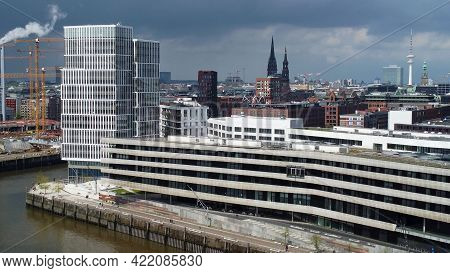 Modern Buildings In The Harbour City District In Hamburg At The Port - Aerial View - Aerial Photogra