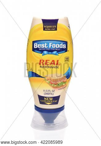 IRVINE, CA - MAY 31, 2017: A 22 oz plastic bottle of Best Foods Mayonnaise. Best Foods and Hellmann's are brand names used for the same line of mayonnaise owned by CPC International Inc.
