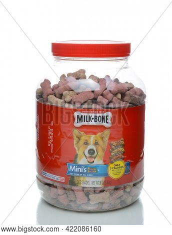 IRVINE, CALIFORNIA - JANUARY 4, 2018: Jar of Milk Bone Minis. Milk-Bone is a brand of dog biscuit, created in 1908. The mini treats contain only 5 calories.