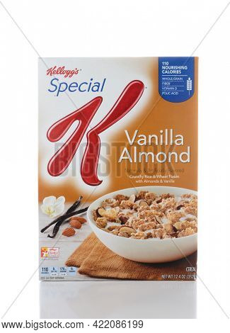 IRVINE, CA - JUNE 2, 2015: A box of Special K Vanilla Almond Cereal. Special K cereals, from Kellogg's of Battle Creek, Michigan, are  a low-fat cereal that can be eaten to help one lose weight.