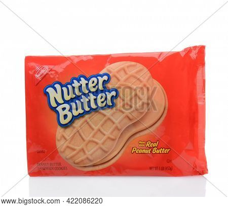 IRVINE, CALIFORNIA - DECEMBER 12, 2014: Package of Nutter Butter Cookies. From Nabisco a peanut-shaped sandwich cookie with a peanut butter filling, introduced in 1969.