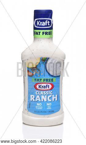 IRVINE, CA - MAY 31, 2017: Kraft Fat Free Ranch Dressing. Kraft produces a full line of salad dressings both Fat Free and original recipe.