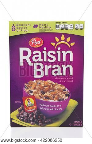 IRVINE, CALIFORNIA - MARCH 10,  2018: Post Raisin Bran cereal. A 20 ounce box of the popular cereal that is an excellent source of dietary fiber.