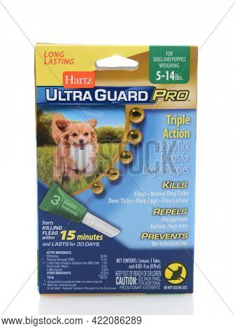 IRVINE, CA - SEPTEMBER 22, 2014: A box of Hartz UltraGuard Pro Flea and Tick Drops. Hartz Mountain Corporation (HMC) is a producer of pet care products.