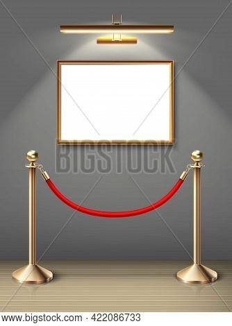 3d Realistic Vector Exhibition Museum Mock Up Painting On The Wall In Horizontal Positioning With Sp