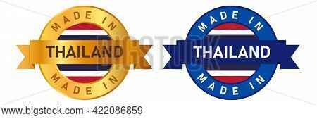 Made In Thailand Label Stamp For Product Manufactured By Thai Company Seal Golden Ribbon And Flag