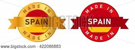 Made In Spain Label Stamp For Product Manufactured By Spanish Company Seal Golden Ribbon And Flag