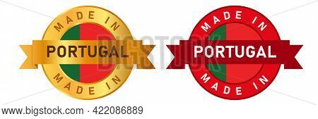 Made In Portugal Label Stamp For Product Manufactured By Portuguese Company Seal Golden Ribbon And F
