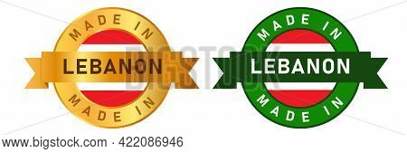 Made In Lebanon Label Stamp For Product Manufactured By Lebanese Company Seal Golden Ribbon And Flag