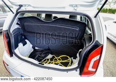 Wolfsburg, Germany - June 19, 2016: Volkswagen E-up Electric Car, Trunk View. Volkswagen Is A German