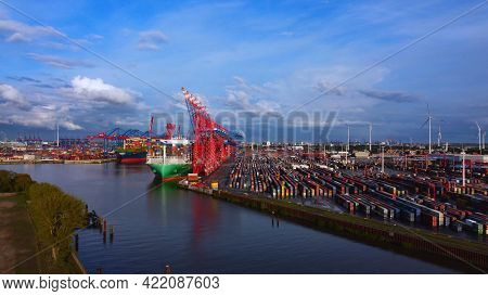 Container Terminal In The Port Of Hamburg - Aerial Photography - City Of Hamburg, Germany - May 10,