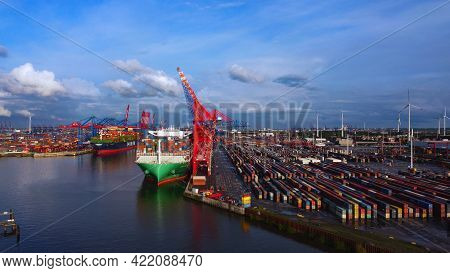 The Impressive Port Of Hamburg With Its Huge Container Terminals - Aerial View - Aerial Photography