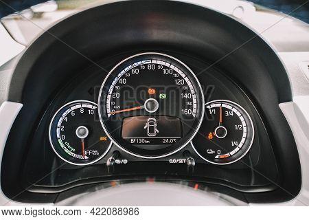 Wolfsburg, Germany - June 19, 2016: Volkswagen E-up Electric Car, View Of The Dashboard. Volkswagen