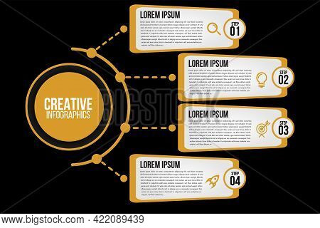 Infographics 4 Options Or Steps Circle Elements Chart Black Template.abstract Of Graph, Diagram Opti
