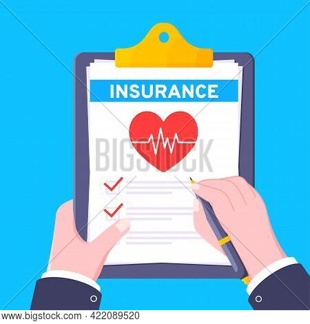 Hand Signs Medical Insurance Claim Formon Clipboard With File Paper Sheets Flat Style Design Vector