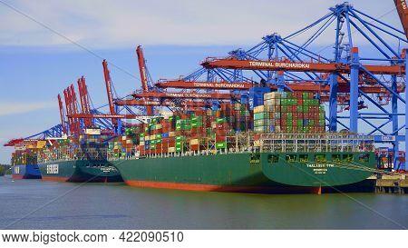 Container Terminal Burchardkai In The Port Of Hamburg - Hamburg, Germany - May 10, 2021