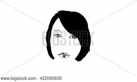 Young Girl Face Sketch, Beauty Portrait. Black Icon, Pretty Female Face. Beautiful Engraving Hand Dr