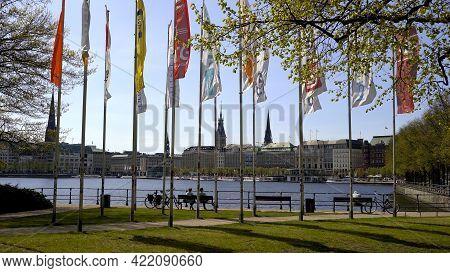 The Beautiful City Center Of Hamburg With Alster River Lake - Hamburg, Germany - May 10, 2021