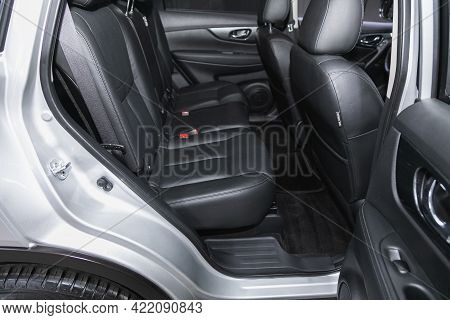 Novosibirsk, Russia - May 29, 2021 Nissan X-trail,  Leather Interior Design, Car Passenger And Drive