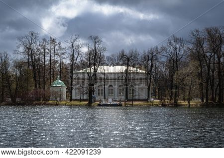 Hall On The Island Pavilion During Stormy Weather In The City Of Pushkin (tsarskoye Selo), Russia.