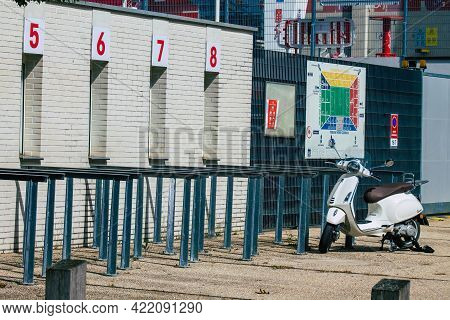 Reims France May 29, 2021 Football Reims Stadium Located In The Center Of The Town And Closed By The