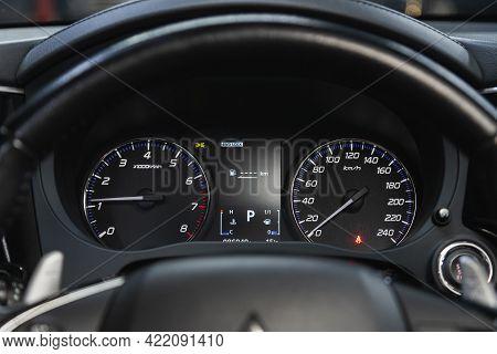 Novosibirsk, Russia - May 29, 2021:mitsubishi Outlander,  Car Dashboard With White  Backlight: Odome