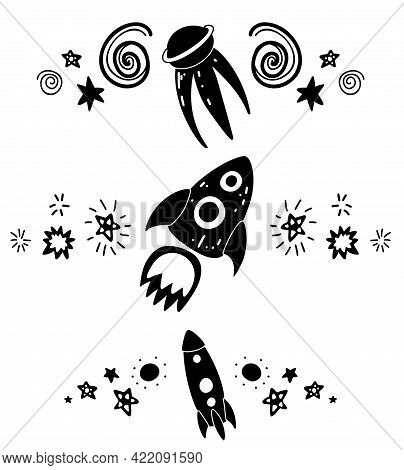 Set Of Black Silhouette Of Spacers With Stars, Rocket, Shuttle And Spacecraft. Vector Space Design E