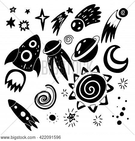 Set Of Black Silhouette Of Childish Cosmos Element With Stars, Moon, Shuttle, Spacecraft And Meteor